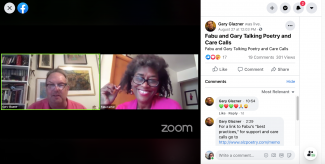 screen shot of a facebook live video with two people on screen talking