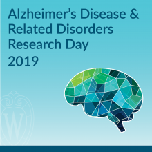 square logo for Alzheimer's disease research day with multicolored blue and green brain