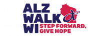Logo for Alz Walk WI, Step Forward, Give Hope